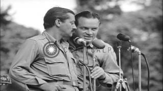 U.S.O. Bob Hope Troupe entertains U.S. soldiers on Bougainville during World War ...HD Stock Footage