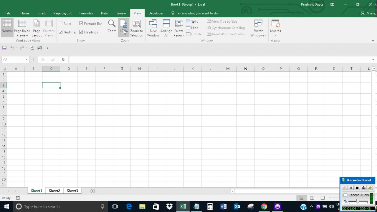 how to change default zoom size in excel