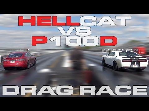 707HP Challenger Hellcat vs Tesla Model S P100D Heads up 1/4 Mile Drag Race
