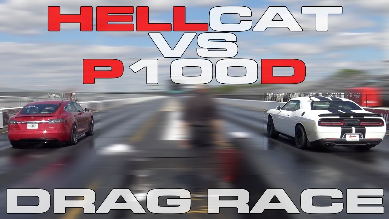 707hp Challenger Hellcat Vs Tesla Model S P100d Heads Up 1 4 Mile Drag Race You