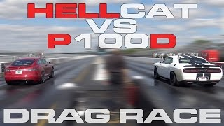 707HP Challenger Hellcat vs Tesla Model S P100D Heads up 1/4 Mile Drag Race