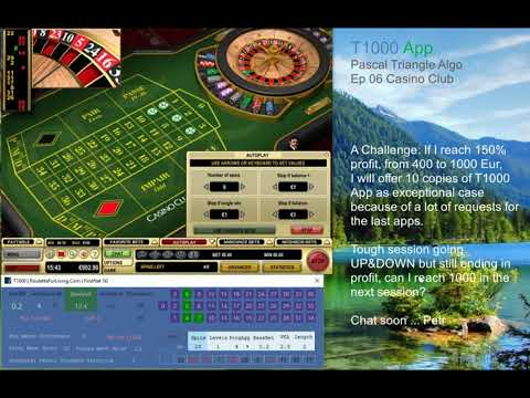 T1000 App | Casino Club Ep.06 Algo Pascal Triangle Selection | Online Roulette Systems, Strategies