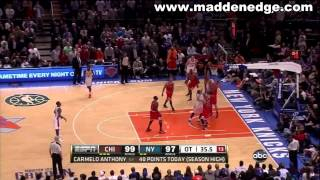 Carmelo Anthony Best Game Ever Easter 2012 Game Winning & Tying 3 Pointers vs Bulls