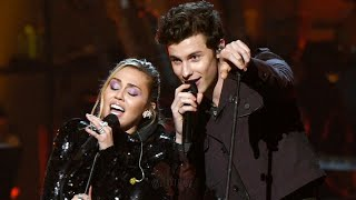 "Miley Cyrus and Shawn Mendes performing ""Islands in the Stream"""