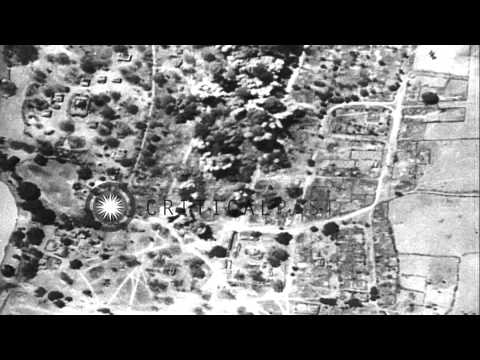 US Army Air Force bombers strafe Japanese barracks and supply bases in Indo-China...HD Stock Footage
