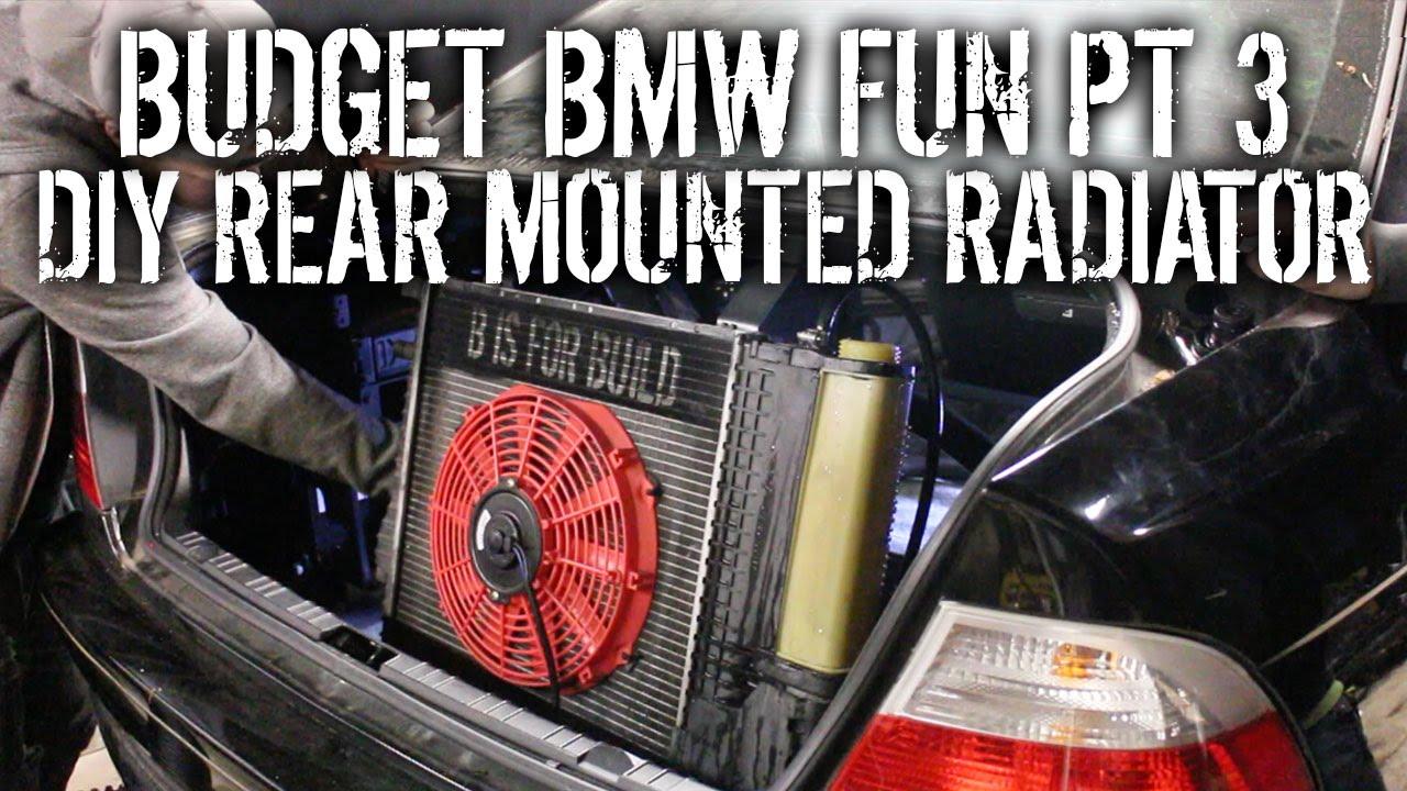 Budget BMW Fun Pt 3 - DIY Rear Mounted Radiator - YouTube