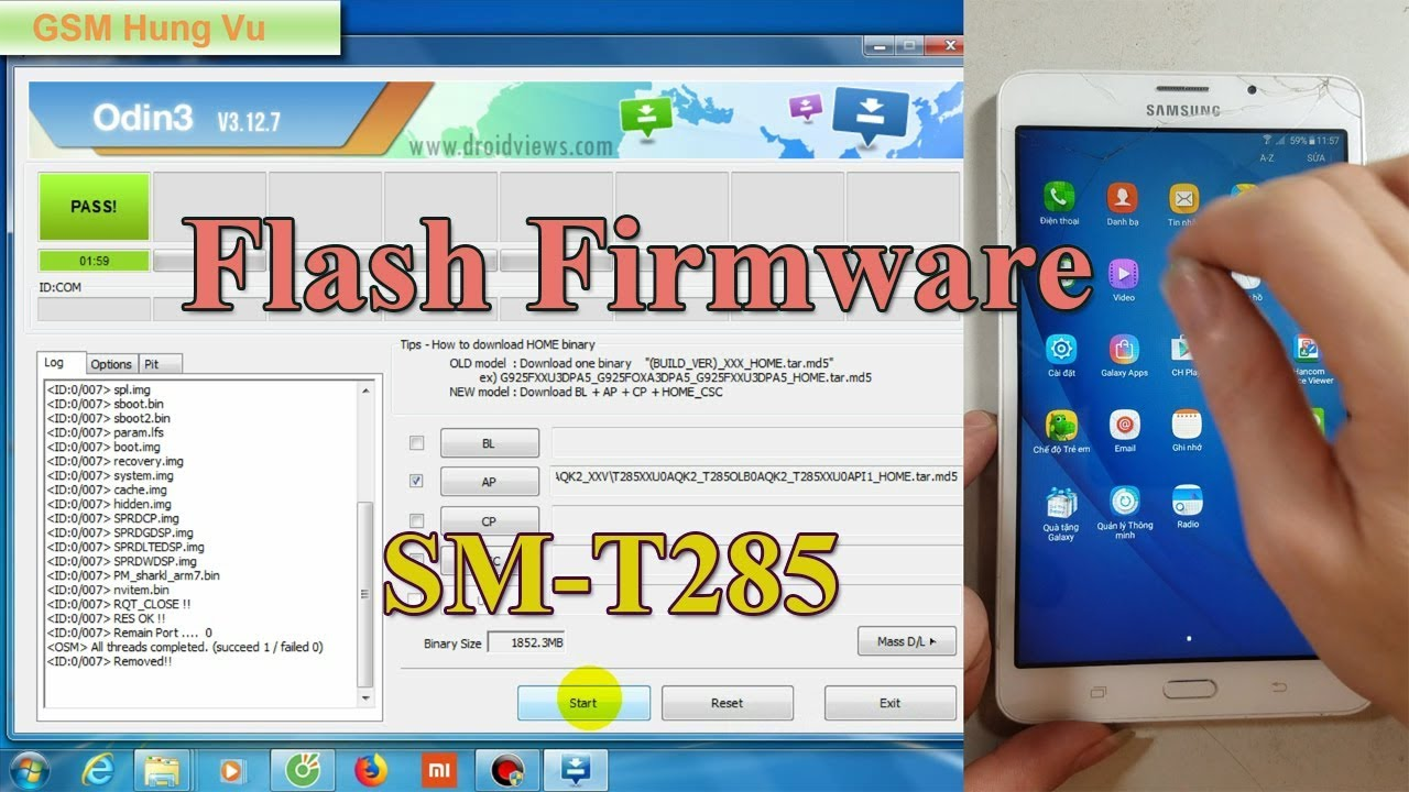 Flashing/Update Firmware Samsung T285 by Odin 3 12 7