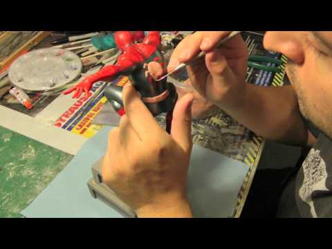 Masking Tutorial Silly Putty on Action Spider Man Statue Part 2