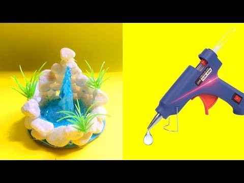 Hot glue crafts | DIY Hot glue waterfall | Creative Room