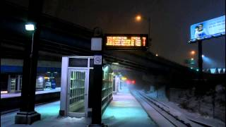 MNCR Snowy Hudson: Two Diesel Trains Passing E. 153rd St RR