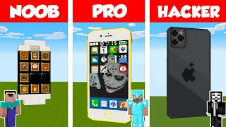 Minecraft NOOB vs PRO vs HACKER: WORKING IPHONE BUILD CHALLENGE in Minecraft / Animation