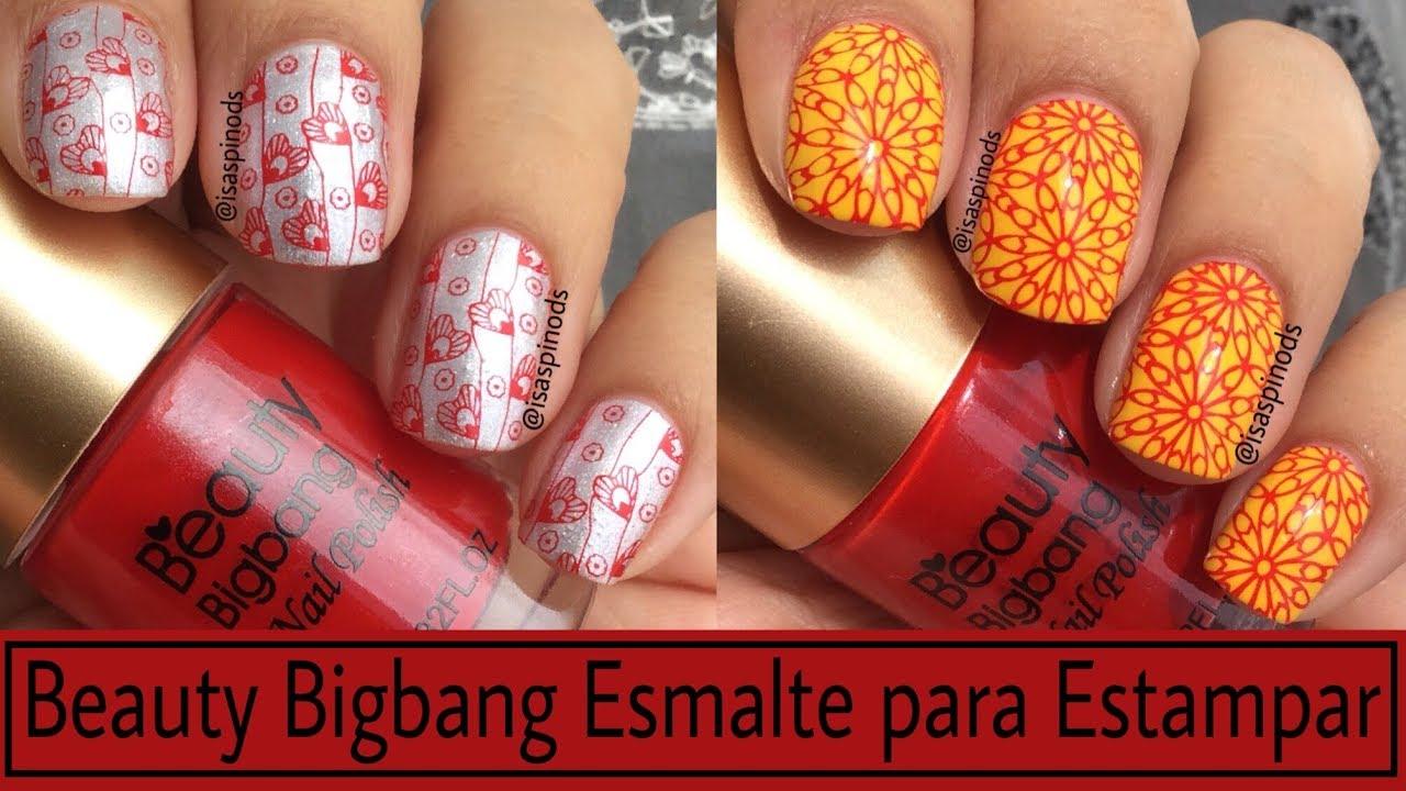 Decoraciones De Uñas Probando El Esmalte Para Estampar Rojo De Beauty Bigbang