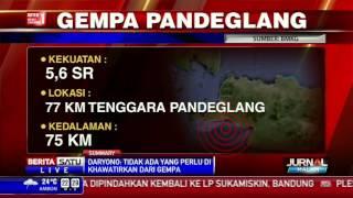BMKG: Gempa Yang Berpusat Di Pandeglang Tidak Berpotensi Tsunami