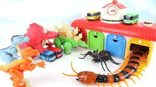 GoGo Tayo Change Dinosaurs. Super Centipede And Monster Spider in Tayo Garage. 끔찍한 벌레가 타요마을에 나타났다 공룡
