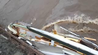 Ballater flood smashing caravans on the bridge 30/12/2015