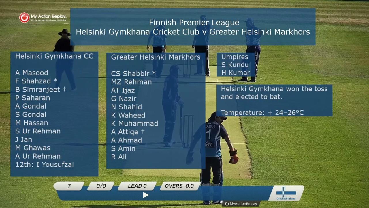 Finnish Premier League: Helsinki Gymkhana Cricket Club v Greater Helsinki Markhors