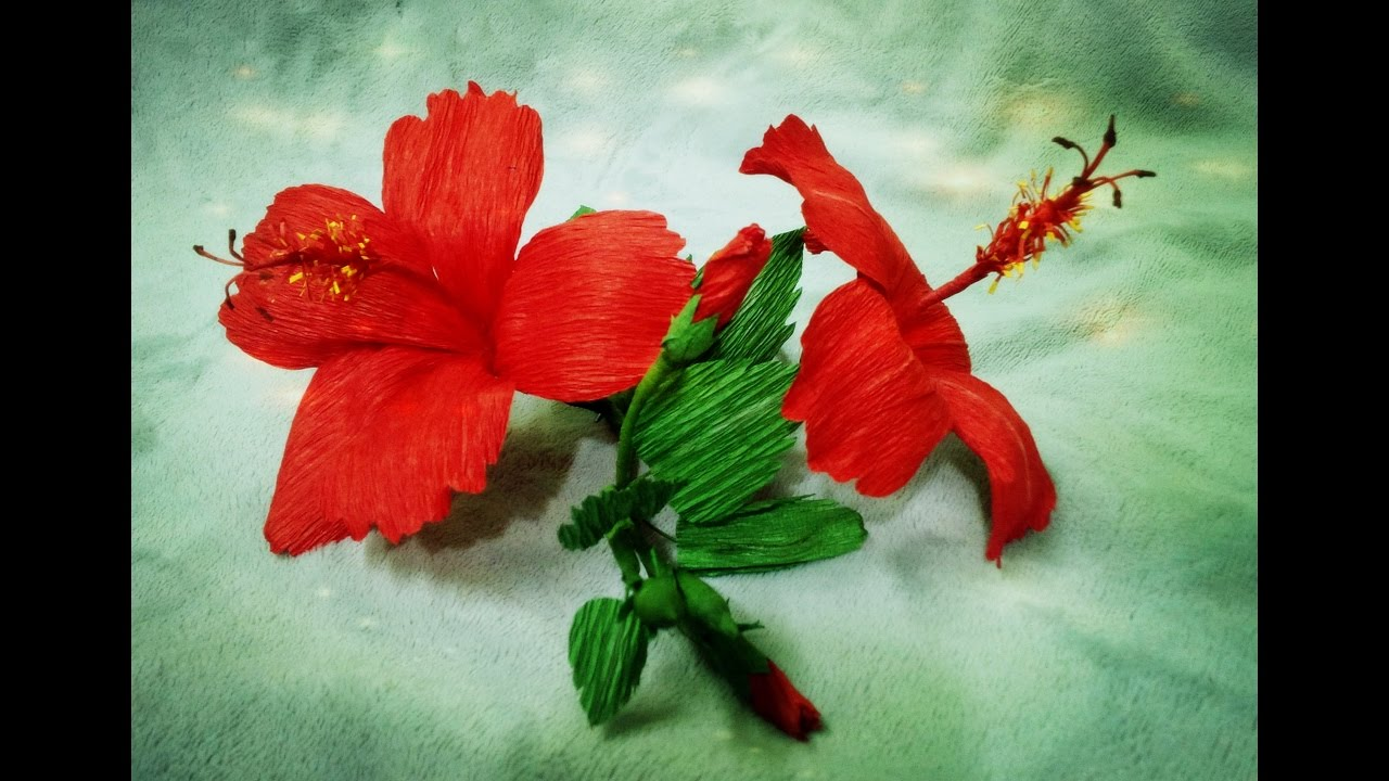How To Make Hibiscus Flower From Crepe Paper Craft Tutorial Youtube