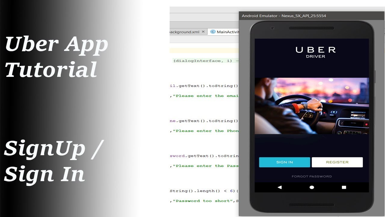 Uber Driver Login >> Uber App Tutorial Part 1 Android Sign Up Sign In With Source Code
