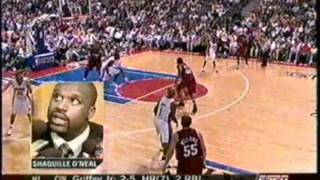 Ben Wallace Blocks Shaquille O'Neal (Sportscenter Coverage)
