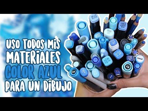 Hago un DIBUJO con Todos mis Marcadores, Lapices, Acuarelas, etc. de COLOR AZUL