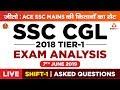SSC CGL Exam Analysis 2019: 7th June 1st Shift