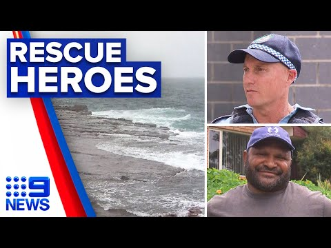 Attempted rescue of a group of rock fishermen at Port Kembla | 9 News Australia