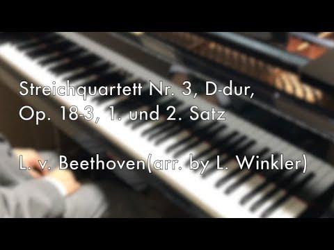 Beethoven, Streichquartett Nr. 3, D-dur, Op. 18-3, 1. und 2. Satz(arranged for piano by L. Winkler)