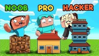 Minecraft - NOOB vs PRO vs HACKER - HOUSE! (10 Sec vs 1 Min vs 10 Min)