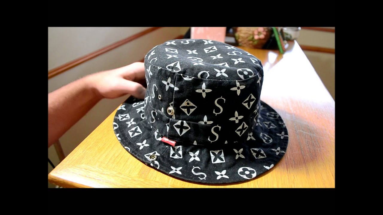 04b3db02203904 Supreme black LV / Monogram bucket hat - YouTube