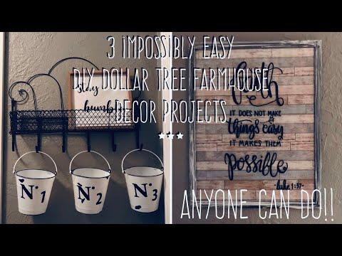 3 Impossibly Easy  DIY Dollar Tree Farmhouse Decor Projects- Anyone Can Do!!