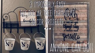 3 Impossibly Easy  DIY Dollar Tree Farmhouse Decor Projects- Anyone Can Do!!