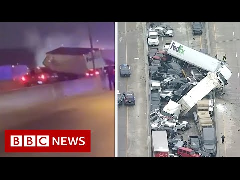 Driver captures deadly 100-vehicle Texas pile-up - BBC News
