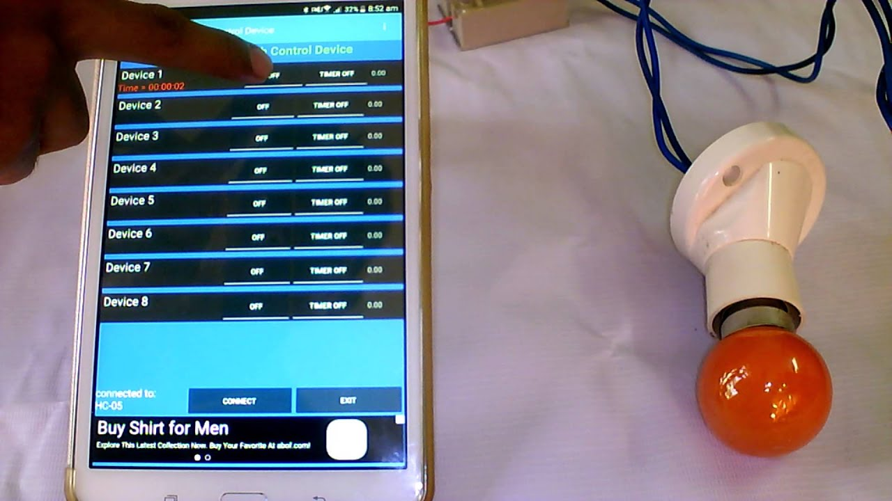Turn on and turn off a V AC lamp using android phone through HC