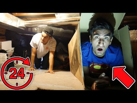 He Did a 24 HOUR Secret Fort in MY HOUSE!! (OVERNIGHT BOX FORT CHALLENGE)