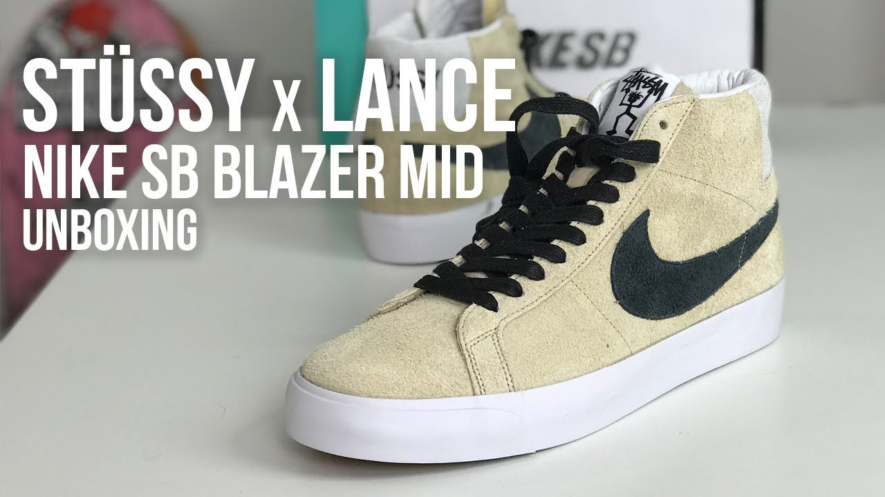 e6a5e36caace Nike SB x Stussy x Lance Zoom Blazer Mid QS Sneaker Unboxing - YouTube