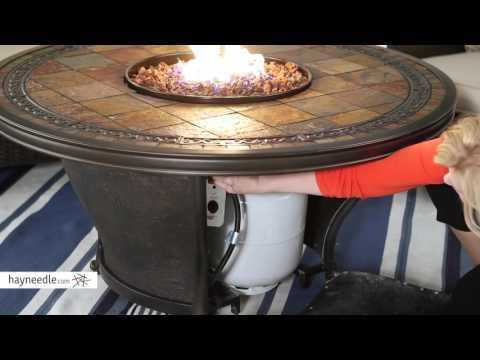 Red Ember by Agio Tempe 48 in. Round Fire Pit Table with FREE Cover - Product Review Video