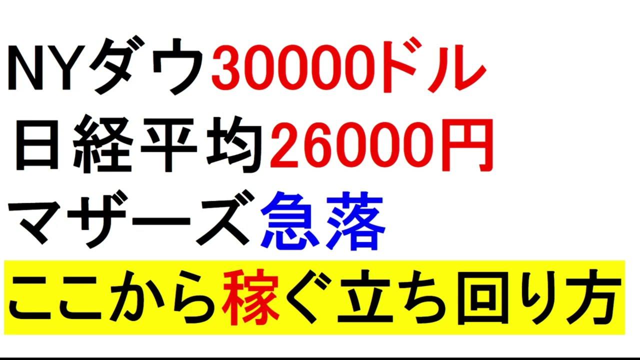マザーズ再び急落!日経平均26000円!この相場での稼ぎ方【緋水の株ちゃんねる】