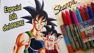 Como Dibujar a GOKU y BARDOCK con Marcadores SHARPIE Día del PADRE.  How to Draw BARDOCK & Baby GOKU
