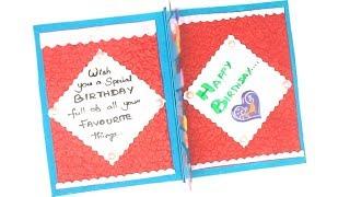 Greeting Card Making | DIY-Beautiful Handmade Happy Birthday Card | DIY Easy Card Making Ideas