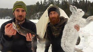 3 Day Remote Overnight in Canvas Tent Lavvu, Stove, Snow, Bushcraft | ASMR (Silent)