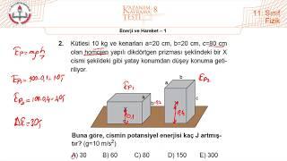 11.Sınıf MEB Fizik Kazanım Kavrama Testi-8 (Enerji ve Hareket-1) [2019-2020]