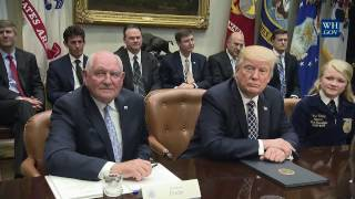 President Trump Participates in a Farmers Roundtable