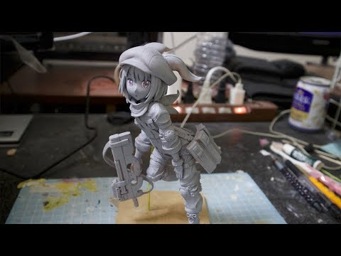 """【フィギュア作成 】(GGO)レンちゃんのフィギュア作ってみた (no Painting) 【clay figure /DIY 】 sculpting clay figure"""" """""""
