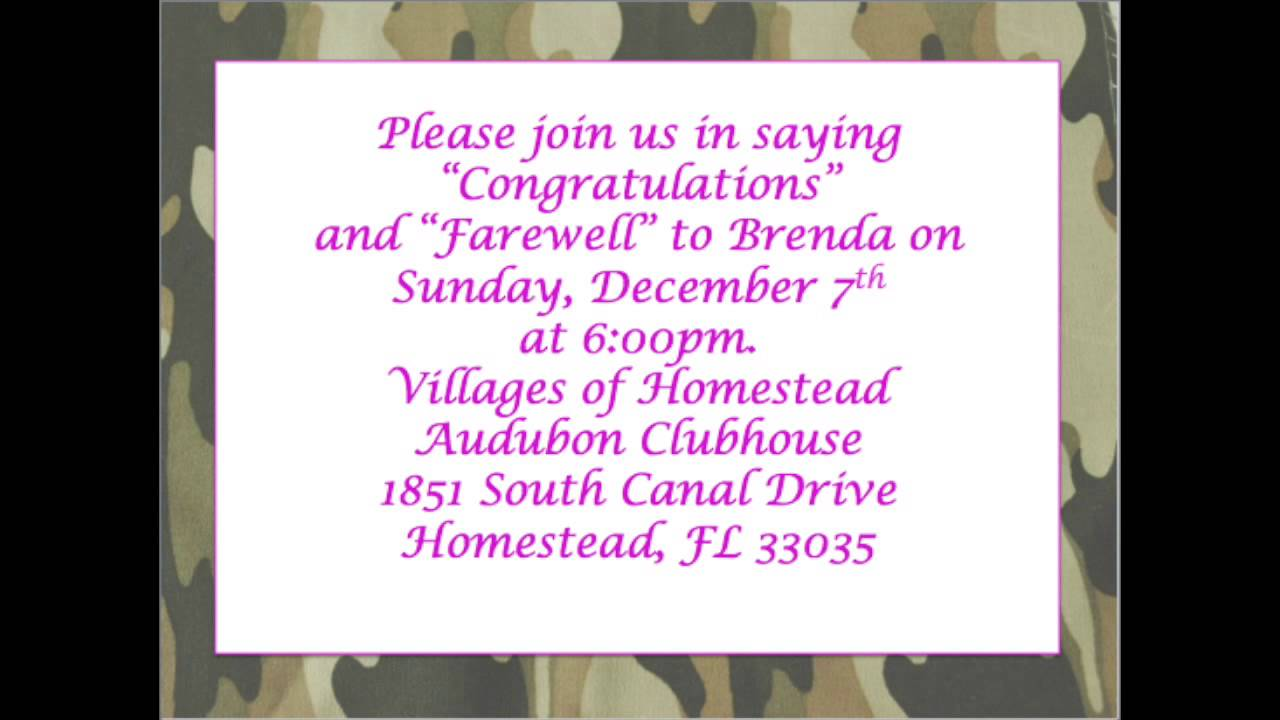 Brendas farewell party invitation youtube stopboris Choice Image