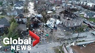 Drone footage taken over nashville, tennessee on tuesday morning shows the widespread damage and destruction after a series of powerful tornadoes swept throu...
