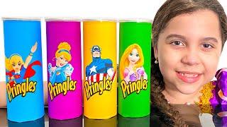 SARAH e os PINGLES MÁGICOS das PRINCESAS - Making Pringles