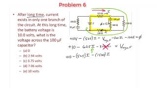 RC Circuits - Proḃlem 6 - Voltage across a Capacitor after a long time.