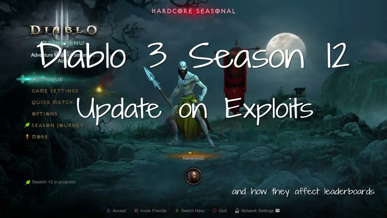 Diablo 3 - Console - Season 12 Update on Exploits and effect on Leaderboards - YouTube