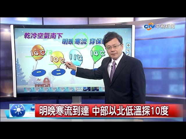 立綱報報~今晚冷氣團南下 溫降明顯穿著保暖│中視晚間氣象 20190121