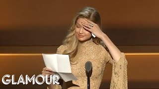 Gigi Hadid Gives Emotional Speech Receiving Her WOTY Award from Serena Williams | Glamour WOTY 2017
